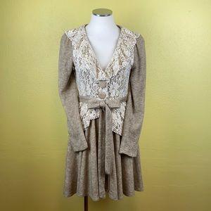 Ryu: tan lace Victorian cardigan dress size Small